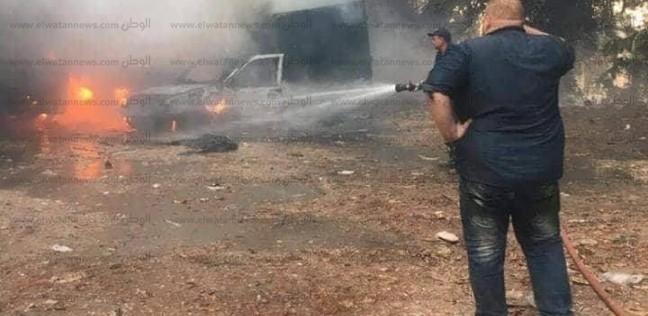 النيران تلتهم 3 سيارات بحريق في شارع الفيلات بالمنصورة
