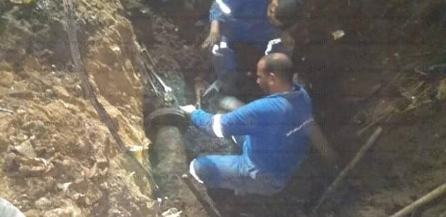 """إصلاح خطي مياه تسببا في إعاقة حركة المرور بـ""""محلة موسى"""" بكفر الشيخ"""