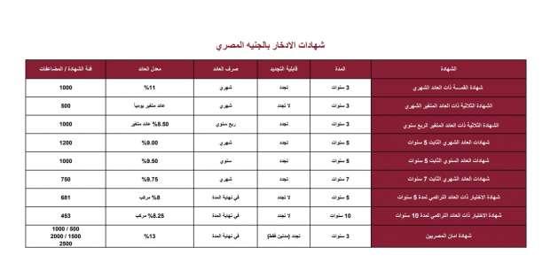 أنواع شهادات بنك مصر