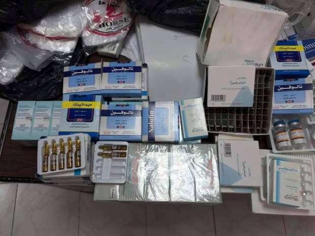 """""""تموين الفيوم"""": ضبط كمية من المحاليل والأدوية المخدرة في مخزن غير مرخص"""