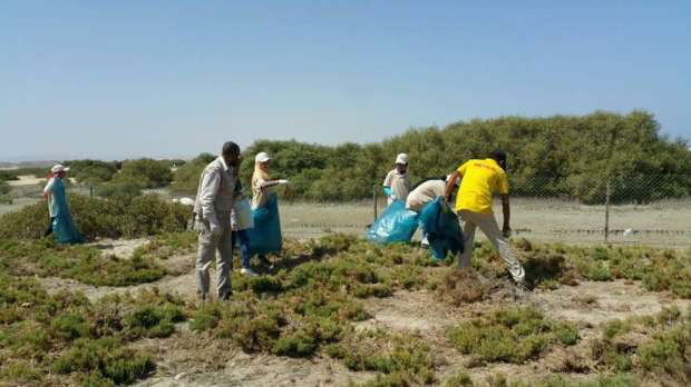 بالصور| طلاب المدارس ينظفون منطقة أشجار المانجروف بمرسى علم