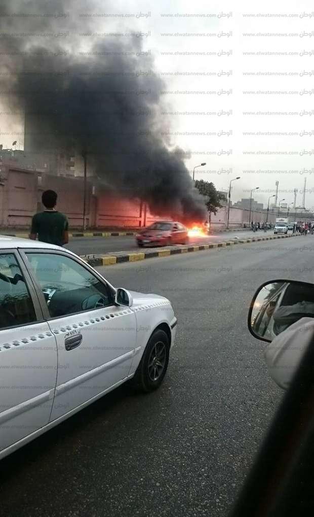 صور| اشتعال سيارة في شارع السودان بالجيزة.. وشلل تام في حركة المرور