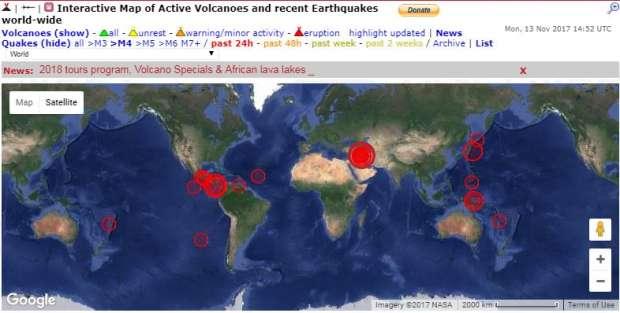 بالخرائط| الزلازل والهزات الأرضية في العالم خلال اليومين الماضيين