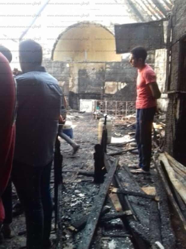 صور.. كنيسة مار جرجس بحلوان بعد الحريق.. لم يتبق سوى المذبح