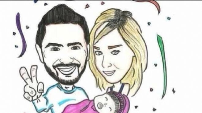 تامر حسني ينشر صورة كارتونية له مع زوجته وابنته