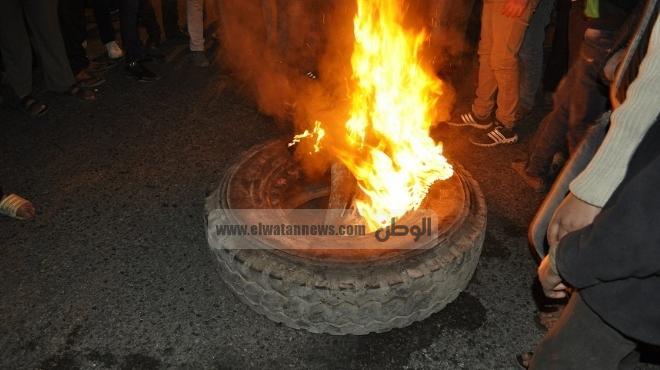 متظاهرون يقطعون طريق القاهرة الصعيد الزراعي