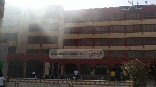 بالصور| حريق محدود بمطعم قاعة مؤتمرات جامعة بني سويف